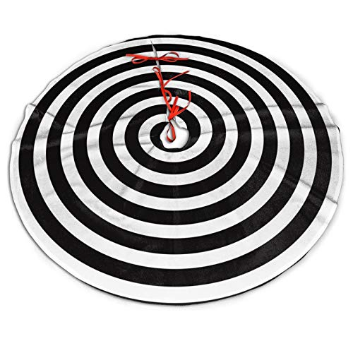 Black And White Goth Lollipop Candy Cane Sugar Funny Cool Themed 30 36 48 Inch Big Christmas Plush Tree Skirt Carpet Mat Rugs Cover Large Round Pad Classic Xmas Party Favors Ornament Decoration