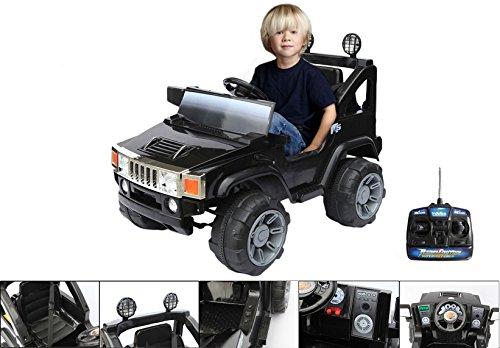 Coche eléctrico 12 V con mando a distancia de control parental – 4x4 Hummer eléctrico de color negro para niño