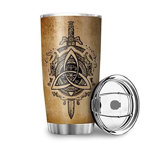 DAMKELLY Store Vaso vikingo de acero inoxidable de alta calidad – Botella de agua con tapa a prueba de salpicaduras para bebidas frías o calientes blanco 3 600 ml