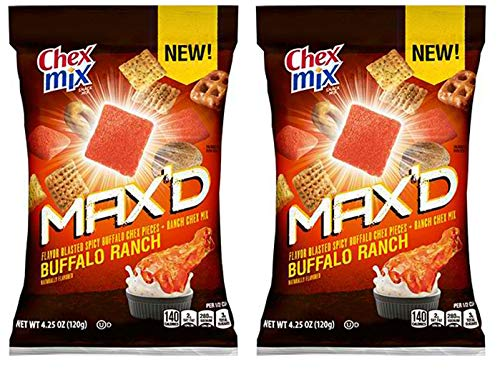 Chex Mix Max'd Buffalo Ranch 4.25 Oz Pack Of 2! Ranch Mix Of Pretzels, Mini Breadsticks, And Crispy Crackers! Crave And New Textures Unlike Any Other Salty Snack!