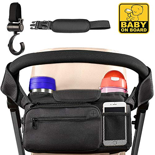 Universal Stroller Organizer with Cup Holders by Wise Moms - Easy Installation, Extra Storage - Stroller Accessory - Storage Diaper Bag Organizer- Baby Shower Gift