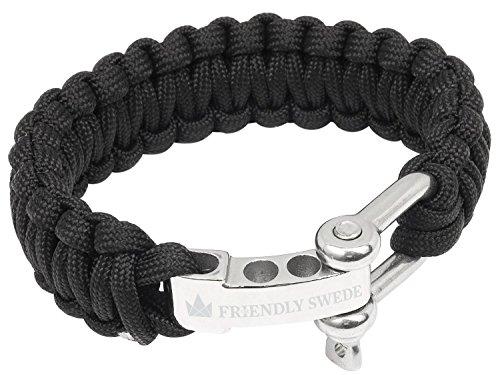 The Friendly Swede Bracelet de Survie en Paracorde avec Fermeture en Acier Inoxydable - Taille Ajustable (Noir/Argent, Medium)