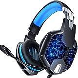 Xflelectronic Gaming-Headset mit Mikrofon, 3,5-mm-Kabel 7-LED-Leuchten Stereo-Surround-Sound-Gaming-Kopfhörer mit Lautstärkeregler, für PC / PS4 / Xbox One/Switch