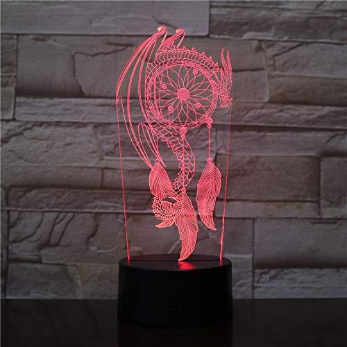Valentine Wind Chimes Dream Catcher Party Girls xmas 3D LED Night Light Lámpara de mesa Mesita de noche Decoración Regalo de niños