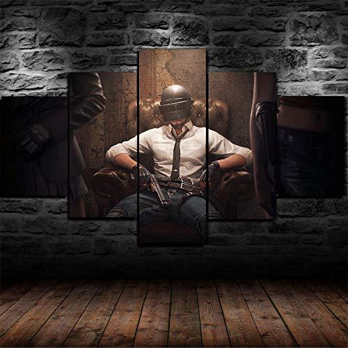 5 Teilig Bilder Leinwand,Leinwanddrucke 5 Stück,Leinwanddrucke Wanddekoratio 5 Teiliges Wandbild,Bilder Wohnzimmer Modern Mit Rahmen,3D Xxl Bilder,150X80Cm Playerunbekanntes Schlachtfeld Mobile