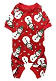 Cute Snowman Xmas Pet Clothes for Dog Pajamas Soft Christmas PJS, Medium Red Back Length 16'