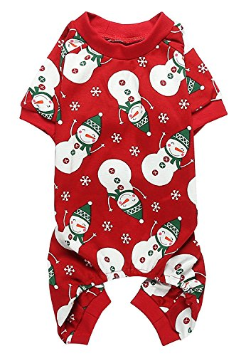 Lanyarco Cute Snowman Xmas Cotton Pet Dog Pajamas Jumpshit for Medium Dogs, Large Red Back Length 20'