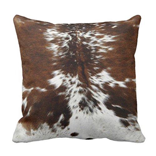 Emvency Funda de cojín de tres colores con estampado de piel de vaca marrón para decoración del hogar, funda cuadrada