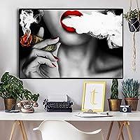 現代のポップセクシーな女の子がキャンバスに葉巻の油絵を吸っているポスターとプリント壁のアート写真リビングルーム50x75cmフレームレス