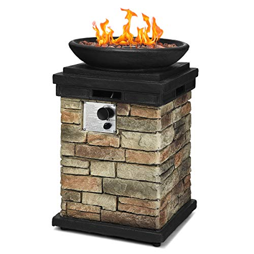 Giantex Propane Firebowl Column, 40,000 BTU Outdoor Gas Fire Pit, Compact Ledgestone Firepit Table with Lava Rocks and Rain Cover