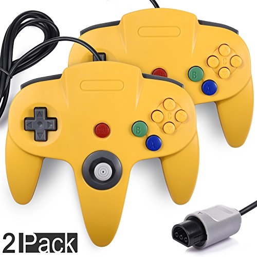 2 Pack N64 Gaming Classic Controller, miadore Retro N64 Gaming Gamepad Joystick Double Colored Joypad for N64 System Home Video Game Console