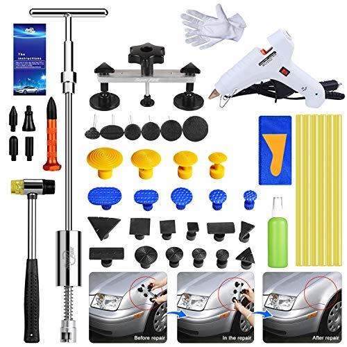 Fly5D Dellen Reparatur Ausbeulwerkzeug Set, Beulen Reparaturset Auto Lackfreies Mit T Dellenzieher und Brücke Beulenzieher für Waschmaschinen, Kühlschrank und Hagelschäden