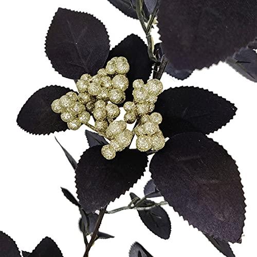 TITA-DONG 5.9Ft Artifical Red Rose Garland,Halloween Hanging Black Leaves Rose Vine ,Black Silk Rose Vine for Halloween Home Wedding Party Silk Flower Arrangements