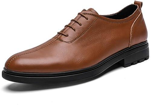 Chaussures formelles pour hommes à lacets Style Chaussures Oxford Chaussures en cuir OX Bout rond Classique Décontracté Style britannique Chaussures de cricket ( Couleur   Marron , Taille   43 EU )