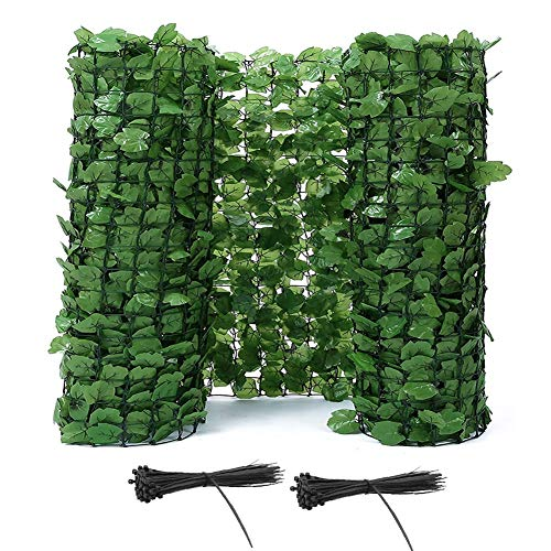 LSXIAO-Decorative Fences Privacy Fence Screen Artificial Ivy Plastic Mesh Panel Improve the Scenery with Cable Ties Maintenance-free Used for Backyard, Stage Background (Color : Green, Size : 1x7m)