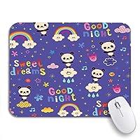 ROSECNY 可愛いマウスパッド パターンおやすみスウィートドリームキッズかわいいパンダクマノンスリップラバーバッキングコンピュータマウスパッド用ノートブックマウスマット