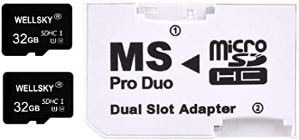 WELLSKY オリジナルブランド [ 東芝チップ内蔵 ] micro SDHC 32GB Class10 クラス10 UHS-I U1 2枚 & メモリースティック ProDuo 変換アダプター 1枚 [ メモリースティック Pro Duo mark2 64GB Memory Stick Pro Duo 64GB ] NEX-3 NEX-5 α55 α33 NEX-C3Y NEX-5N NEX-7 α200 α300 α350 α550 α700 α900 α65 α77 α57 NP-FM500H NP-FW50 NP-FZ100 NP-FV100 NP-FV100a NP-FV70 PSP