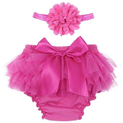 Freebily Neugeborene Baby Mädchen Rüschen Höschen Bloomers Hose Windelabdeckung Rüschenhose mit Stirnband Geburtstag Fotografie Kostüm Rose 0-3 Monate