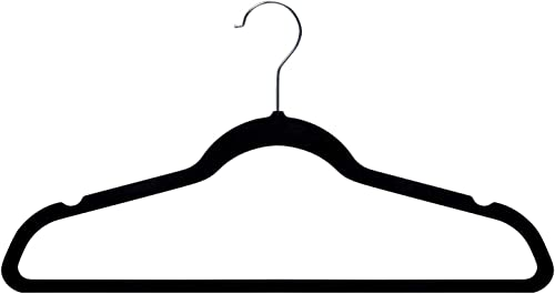 Amazon Basics - Ganchos para ropa de terciopelo, 30 unidades, color negro