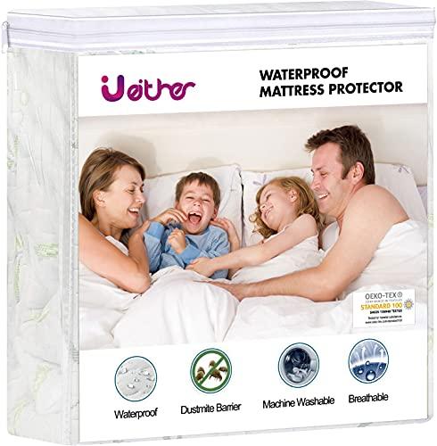 Ueither Premium Impermeable Protector de colchón 150x200 CM, Suave Cubrecolchón, Transpirable Funda para Colchón de...