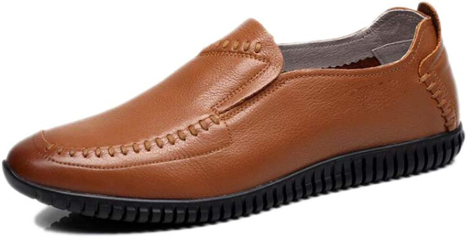 ASJUNQ Men's Leather shoes Business Casual,Brown-42