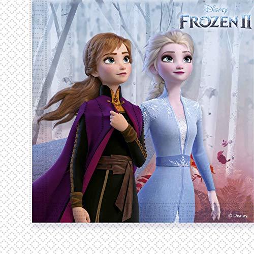 Procos 91128 - Servietten Frozen 2, 20 Stück, Größe 33 x 33 cm, Papierservietten mit Motiv, Tischdekoration, Mundtuch, Anna, Elsa und Olaf, Die Eiskönigin