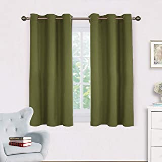 NICETOWN Bedroom Curtain Panels Blackout Draperies, Thermal Insulated Solid Grommet Blackout Curtains/Drapes for Christmas Decoration (One Pair,42 by 45-Inch,Olive Green)