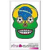 pinkelephant Aufkleber / Autoaufkleber - Sugar Skull - Fussball - Fahne - Brasilien - 9 cm x 12 cm - flag