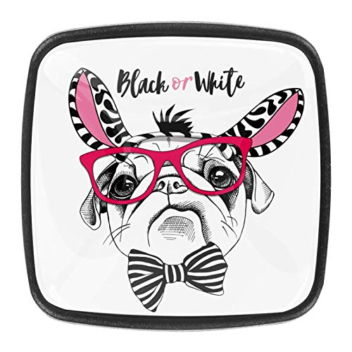4pcs ABS Resin Black Square Cabinet Knobs for Cabinets Drawer Bedroom Wardrobe Bathroom Hardware Funny Pug Dog Black Or White
