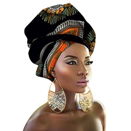 Chien Multi-Color Urban Ladies Hair Accessory Headband,Bazin Wax Print Wrap Tie Scarf, African Head Scarf Gele Ipele (Black and White)