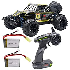 Total 2 Pack 7.4V 850mAh battery,extend running time 40+ minutes . RC Car High Speed Remote Control Car for Kids Adults 1:18 Scale 30+ MPH 4WD Off Road Monster Trucks,2.4GHz All Terrain Toy Trucks with 2 Rechargeable Battery,60+ Min Play Gifts for Bo...