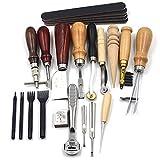 MUUZONING 18 Piezas Kit de Herramientas de Coser a Mano, Herramientas de Costura de Cuero - Profesional Practico DIY Set de Coser de Artesanía Cuero #005