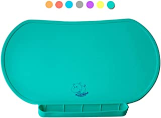 Food Catching Baby Placemat with Non-Slip, Premium Quality, Food Grade Silicone for Max Hygiene, Unique Raised Edge, Spill Proof Accident Tray, Lightweight and Portable, 6 Colors (Giggle Green)