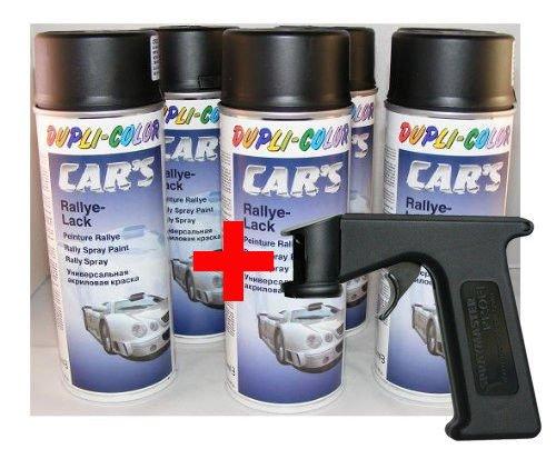 Dupli Color Car 's barniz negro mate 6x 400ml latas + Spray Master (como Pistola) Cars