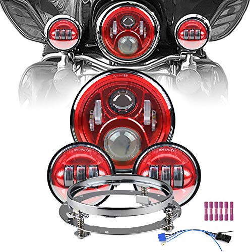 Atubeix 7 inch Led Headlight 4-1/2' 4.5 inch Matching Passing Lamps assembly for Classic Electra Touring Road King Street Glide Heritage Softail with Fat boy with Mounting Ring (Red)