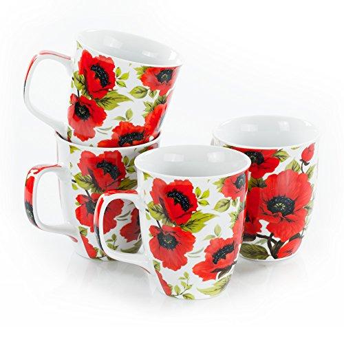 Olymp Tassen-Set - Mohnblumen, 4 Stück, 400 ml Porzellan Kaffeebecher
