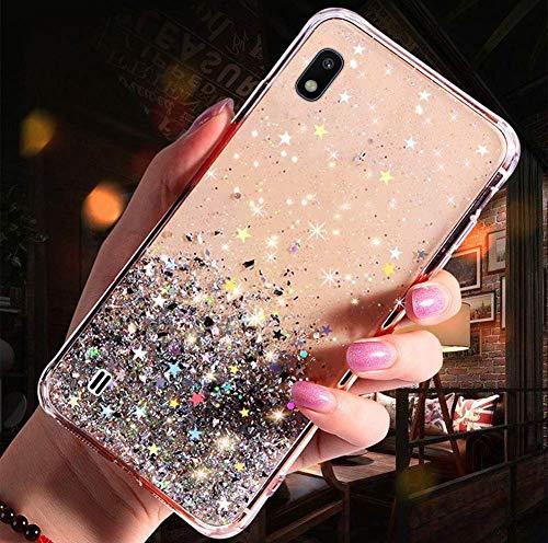 Uposao Kompatibel mit Samsung Galaxy A10 Hülle Glänzend Glitzer Strass Diamant Sterne Transparent TPU Silikon Handyhülle Weiche Dünn Durchsichtig Schutzhülle Tasche Crystal Case,Silber