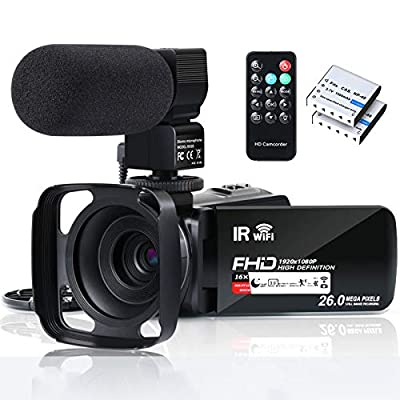 """Video Camera Camcorder WiFi FHD 1080P 30FPS 26MP YouTube Vlogging Camera 16X Digital Zoom 3.0"""" Touch Screen Digital Camera Video Recorder with Microphone Remote Control Lens Hood Infrared Night Vision by Aabeloy"""