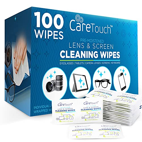 Care Touch Lens Cleaning Wipes, 100 Pre-Moistened and Individually Wrapped Lens Cleaning Wipes - Great for Eyeglasses, Tablets, Camera Lenses, Screens, Keyboards and Delicate Surfaces