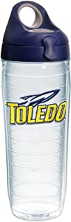 Tervis 1232427 Toledo Rockets Logo Insulated Tumbler with Emblem and Navy with Gray Lid, 24oz Water Bottle, Clear