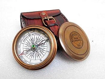 KHUMYAYAD Boussole de poche en laiton antique fabriquée à la main entièrement fonctionnelle avec étui en cuir
