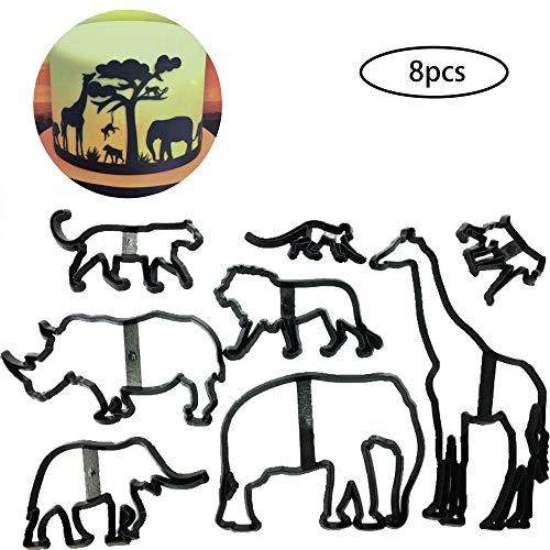 Set of 8 Fondant/Cookie Cutter Giraffe/Elephant/Lion/Monkey Silhouette Gumpaste Flowers Sugar Craft Mold Cake Decorating Tools for Party, DIY, Craft, Animals Theme (Animals)
