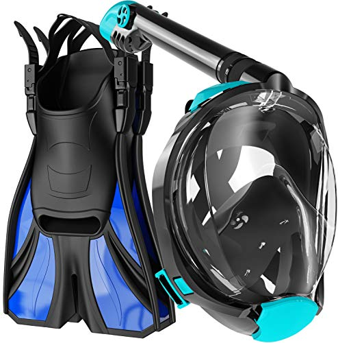 cozia design Snorkel Set Adult - Full Face Snorkel Mask and Adjustable Swim Fins for Lap Swimming, 180 Panoramic View Scuba Mask, Anti Fog and Anti Leak Snorkeling Gear, Extra Propulsion Flippers