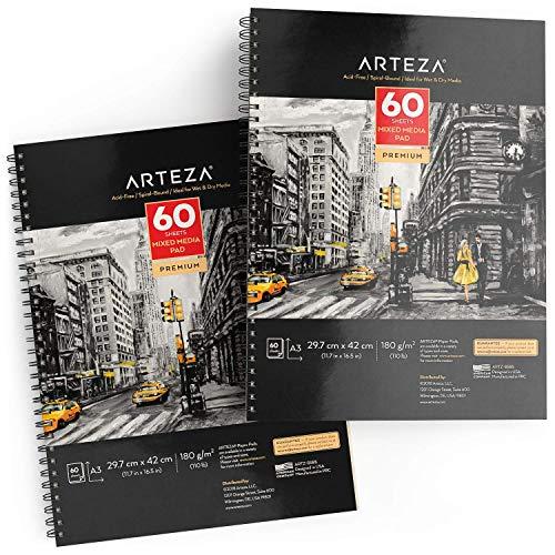 Arteza Mixed Media Papier, Zeichenblock DIN A3, 2er-Pack Mixed Media Sketchbook je 60 Blatt, spiralgebundener Skizzenblock 180 g/m², säurefreies Papier, für nasse und trockene Malmedien
