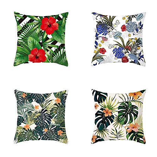 HONGZYNX Set Of 4 Throw Pillow Covers,Beautiful And Colorful Natural Flower Plant,Modern Daily Decorations Sofa Case Cushion Zippered For Room Bedroom Room Sofa Chair Car 18'X18'