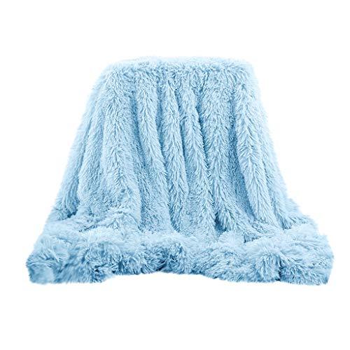 Zhouwei Shaggy - Manta de piel sintética larga y ligera de felpa sherpa (color: azul)
