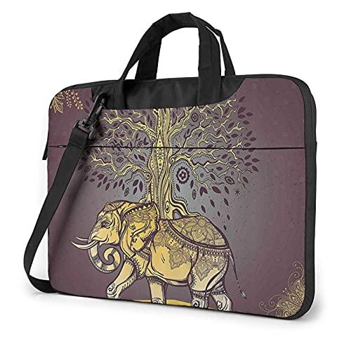 Maletín Funda para Ordenador Portátil Elefante con árbol en la Espalda Portadocumentos Maletines y Bolso Bandolera para Portátil 13/14/15.6 Pulgadas