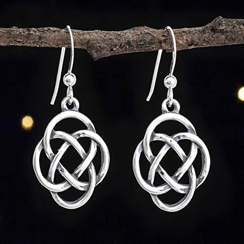 Sterling Silver Celtic Love Eternity Knot Earrings - Double Sided - Handmade, Solid .925