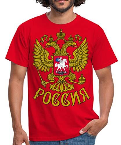 Russland Wappen Männer T-Shirt, XL, Rot
