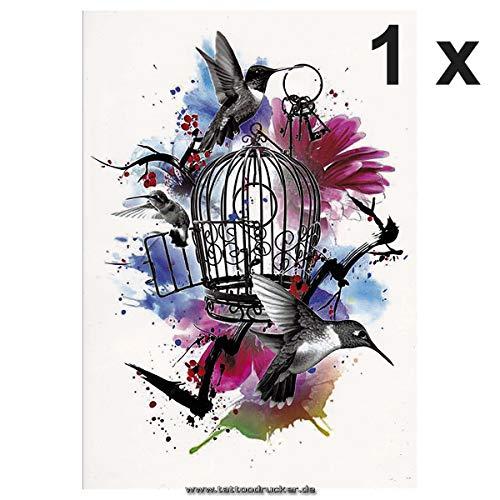 Vogelkäfig als buntes XL Tattoo - Splash Blumen Schlüssel - Body Temporary Fake Tattoo - TH161 (1)
